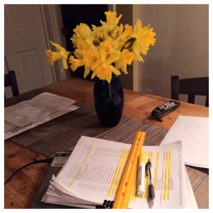 Matching my work materials to the daffodils was unintentional.